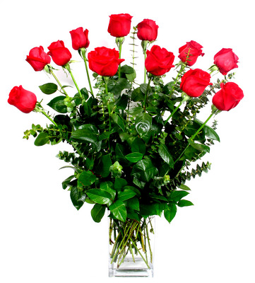Our Best Premium Roses in a Contemperary Vase from Mockingbird Florist in Dallas, TX