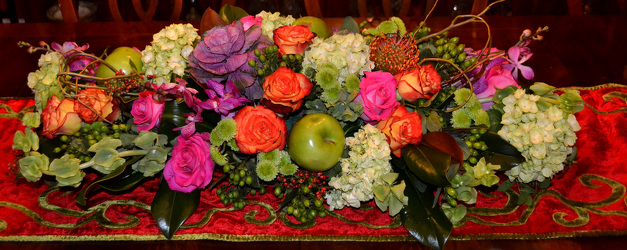 Green Apple Holiday Centerpiece  from Mockingbird Florist in Dallas, TX