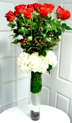 18 Exquisite Red Roses & Hydrangea Internet Special !! from Mockingbird Florist in Dallas, TX
