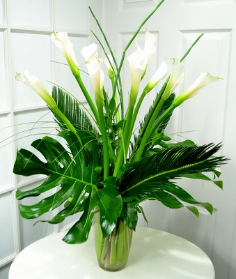 White Calla Lilies With Flair. from Mockingbird Florist in Dallas, TX