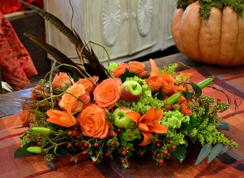 Fall Harvest Centerpiece from Mockingbird Florist in Dallas, TX