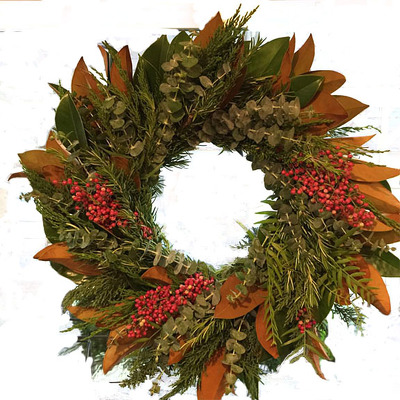 Holiday Wreath Magnolia, Pepperberry, Rosemary from Mockingbird Florist in Dallas, TX