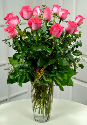12 Lush Pink  Roses   from Mockingbird Florist in Dallas, TX
