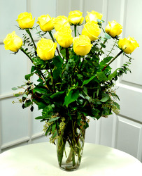 12 Lush Yellow Roses   from Mockingbird Florist in Dallas, TX