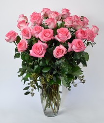 24 Lush Pink Roses December Speical from Mockingbird Florist in Dallas, TX