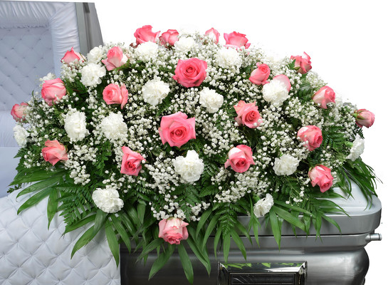 Roses & Carnation Mix Casket Spray from Mockingbird Florist in Dallas, TX
