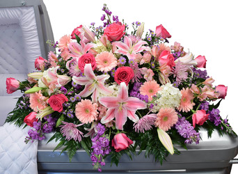 Roses, Lilies and Mums Casket from Mockingbird Florist in Dallas, TX