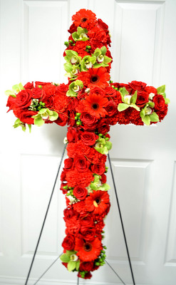 Red Sympathy Cross from Mockingbird Florist in Dallas, TX