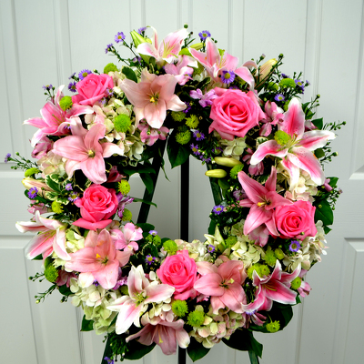 Pink Sincerity Wreath from Mockingbird Florist in Dallas, TX