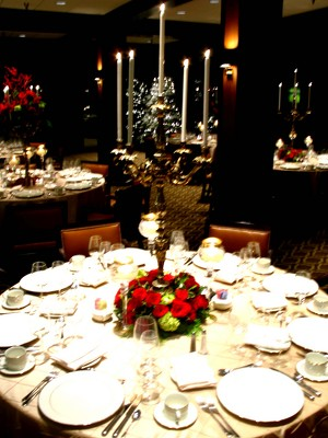 Holiday Table Gold Candelabra Decorations from Mockingbird Florist in Dallas, TX
