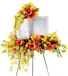 Solemn Word Standing Bible Spray from Mockingbird Florist in Dallas, TX