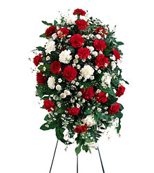 Crimson & White Standing Spray from Mockingbird Florist in Dallas, TX