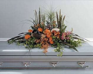 Duck Decoy Casket Arrangement from Mockingbird Florist in Dallas, TX